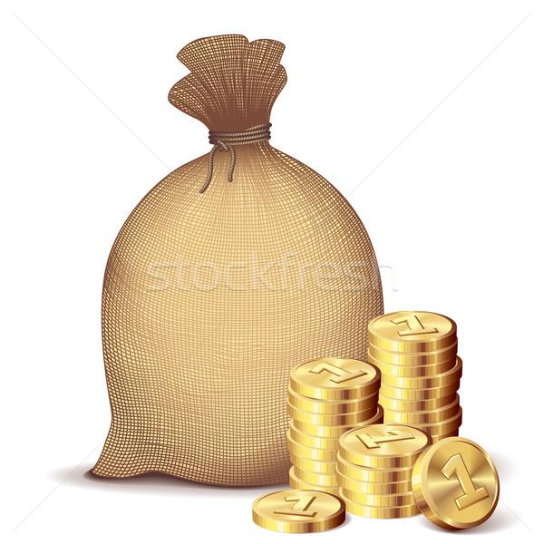 Ceny worek złote monety powrót biały eps8 Zdjęcia stock © polygraphus