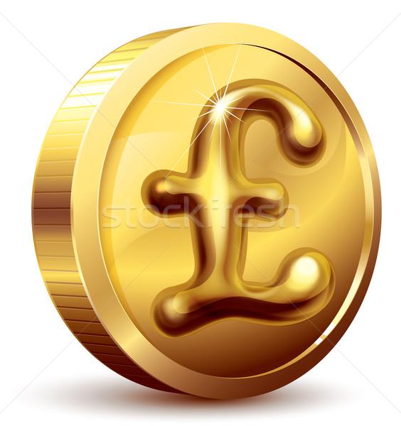 Funt monety złota moneta symbol eps10 zorganizowany Zdjęcia stock © polygraphus
