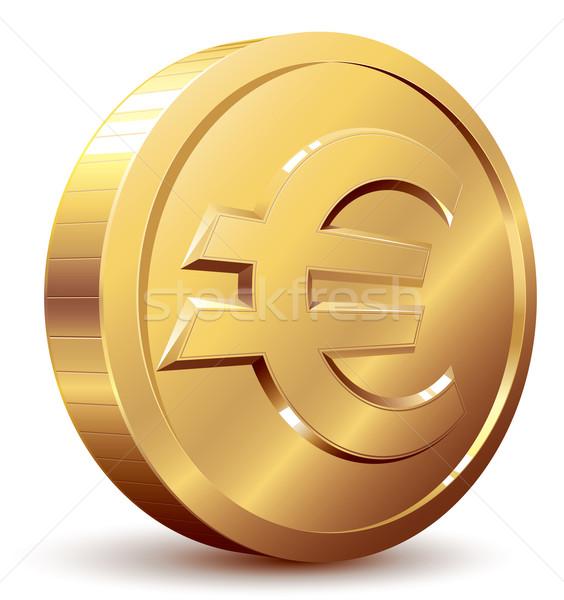 Euro podpisania złota moneta eps8 zorganizowany warstwy Zdjęcia stock © polygraphus