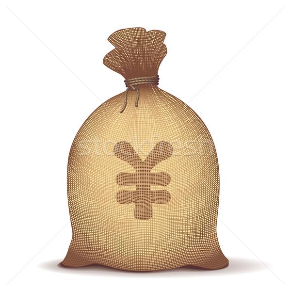 Geld Tasche zurück yen Zeichen weiß Stock foto © polygraphus