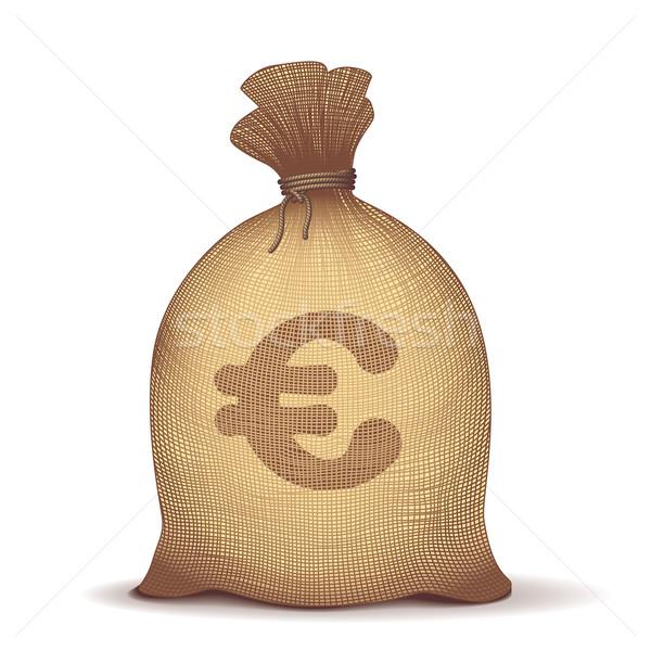 Geld Tasche zurück Euro Symbol weiß Stock foto © polygraphus