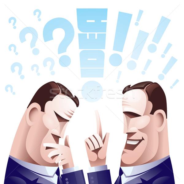 Beyin fırtınası iki düşünme erkekler eps8 düzenlenmiş Stok fotoğraf © polygraphus