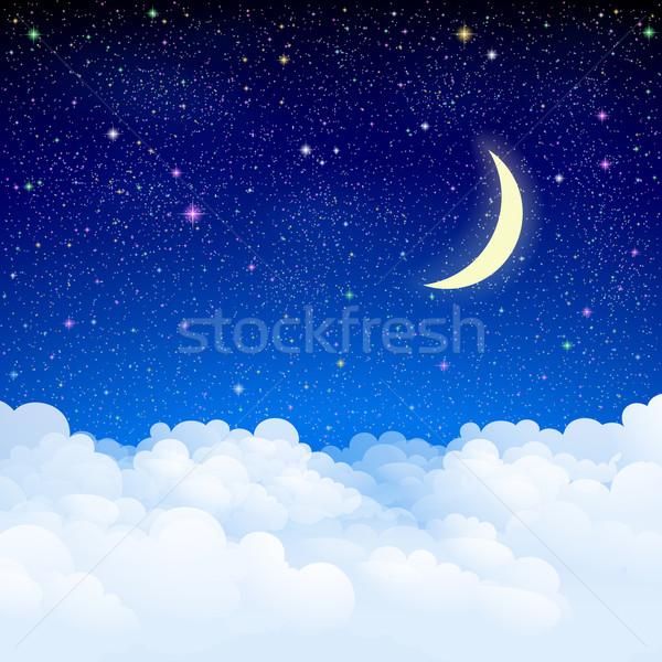 Stockfoto: Nachtelijke · hemel · hemel · wolken · eps10 · gradiënten