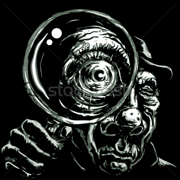 Detective with magnifying glass Stock photo © polygraphus