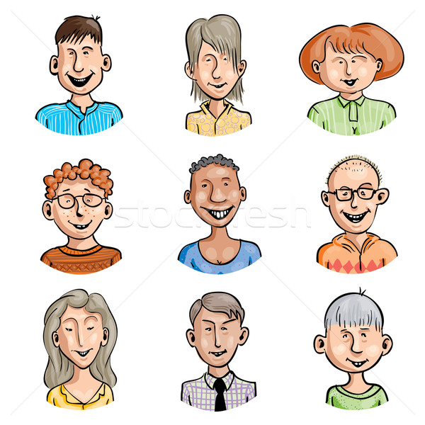 Erkekler kadın ayarlamak dokuz gülen karikatür Stok fotoğraf © polygraphus