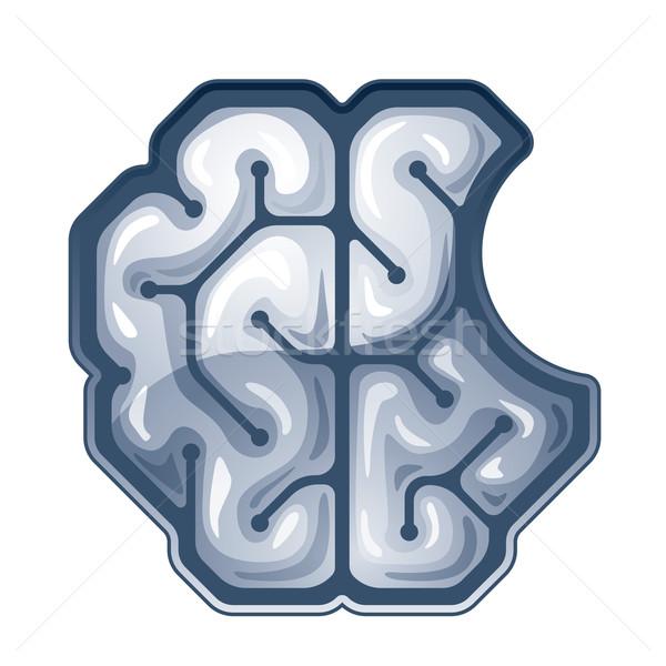 Wektora mózgu górę widoku brakujący gryźć Zdjęcia stock © polygraphus