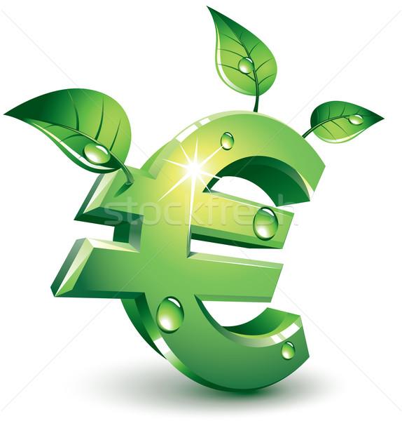 Euro yeşil imzalamak yeşil yaprakları eps8 Stok fotoğraf © polygraphus