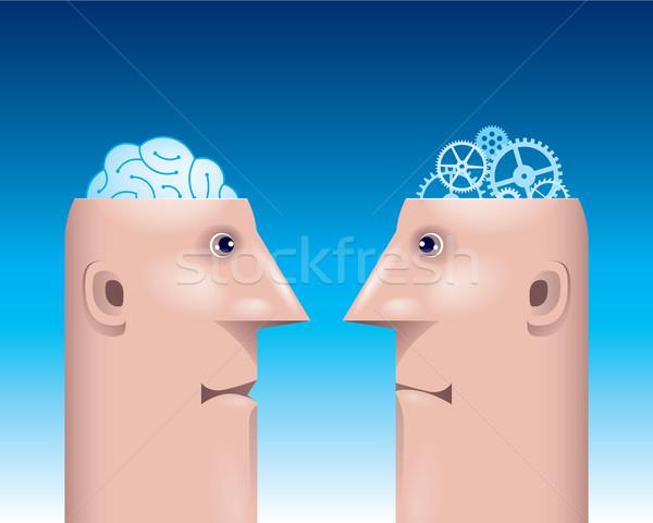 Dos masculina perfil viendo escuchar otro Foto stock © polygraphus