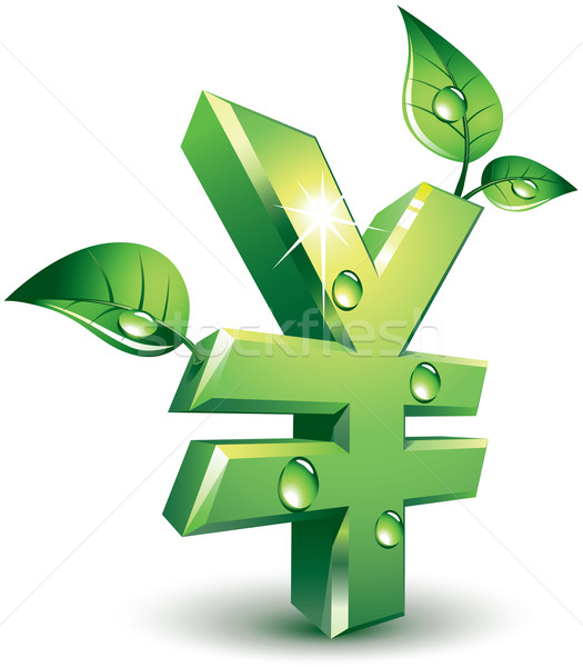 Yen segno foglie verdi eps8 organizzato Foto d'archivio © polygraphus