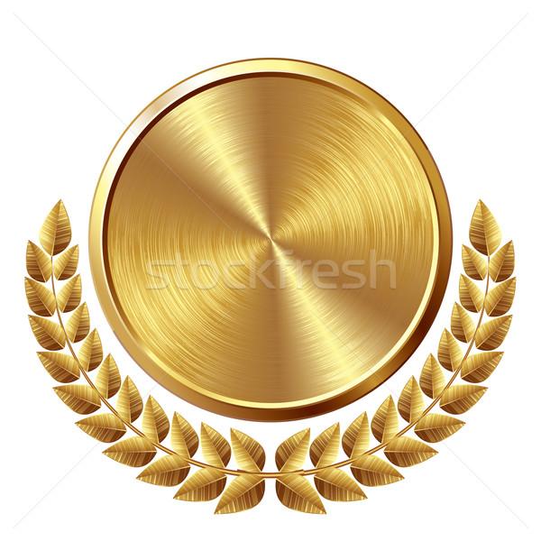 Médaille d'or or médaille couronne eps8 mondial Photo stock © polygraphus