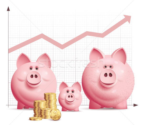 Rodziny oszczędności trzy wektora banku piggy Zdjęcia stock © polygraphus