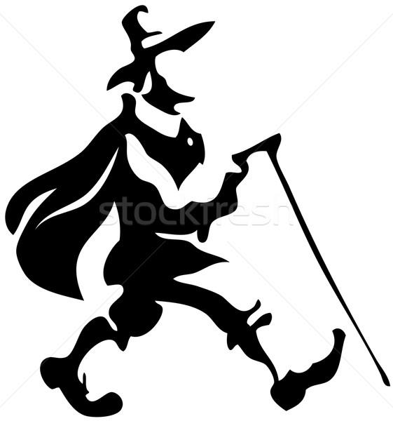 Foto d'archivio: Pellegrino · piedi · silhouette · eps8 · bianco · nero · Hat