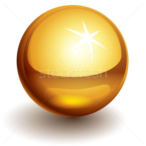 Stock fotó: Vektor · arany · labda · fényes · eps10 · átláthatóság
