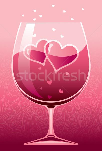 Wina miłości wino czerwone dwa serca Zdjęcia stock © polygraphus