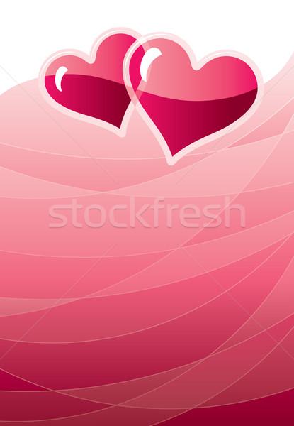 Valentine iki kalpler kırmızı eps8 global Stok fotoğraf © polygraphus