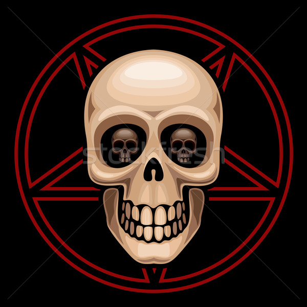 Skull and pentagram Stock photo © polygraphus