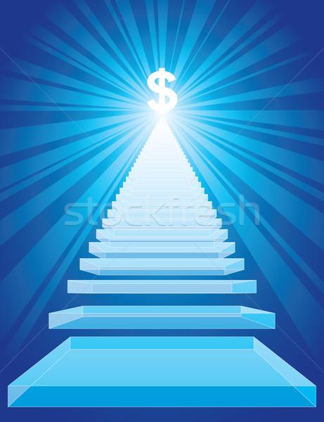 Merdiven başarı merdiven dolar işareti üst eps8 Stok fotoğraf © polygraphus