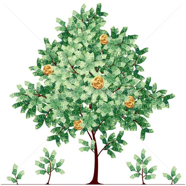 Dolar drzewo pozostawia złote monety eps8 Zdjęcia stock © polygraphus