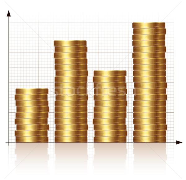 Monety wykres wykres słupkowy złote monety eps8 zorganizowany Zdjęcia stock © polygraphus