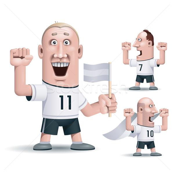 Futbol fanlar üç vektör eps10 şeffaflık Stok fotoğraf © polygraphus