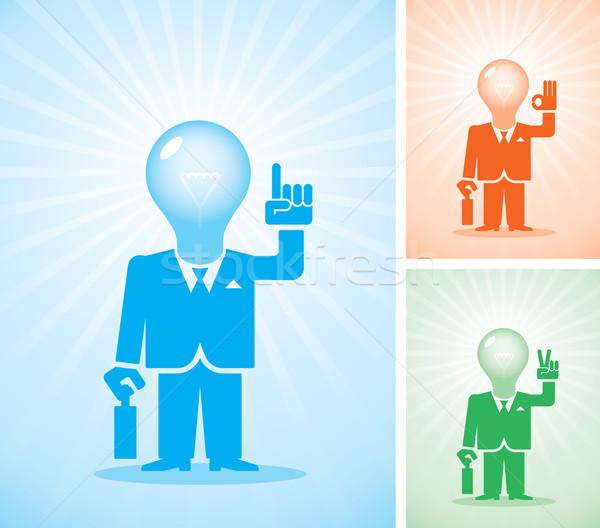 Jasne pomysł trzy biznesmenów lampy głowie Zdjęcia stock © polygraphus