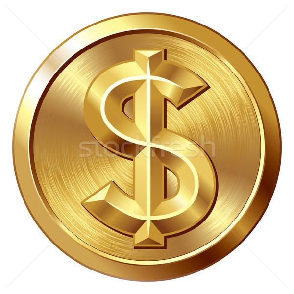 Dolar złota moneta znak dolara eps8 zorganizowany warstwy Zdjęcia stock © polygraphus
