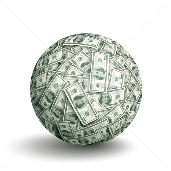 Wektora Dolar piłka sferze jeden sto Zdjęcia stock © polygraphus