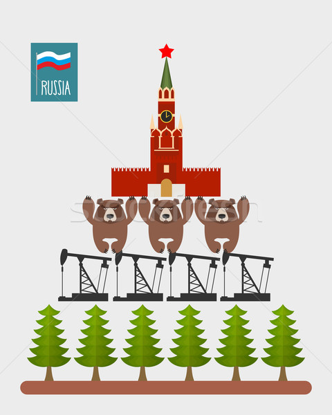 Structure Russia. Moscow Kremlin is based on  three bears. Bears Stock photo © popaukropa