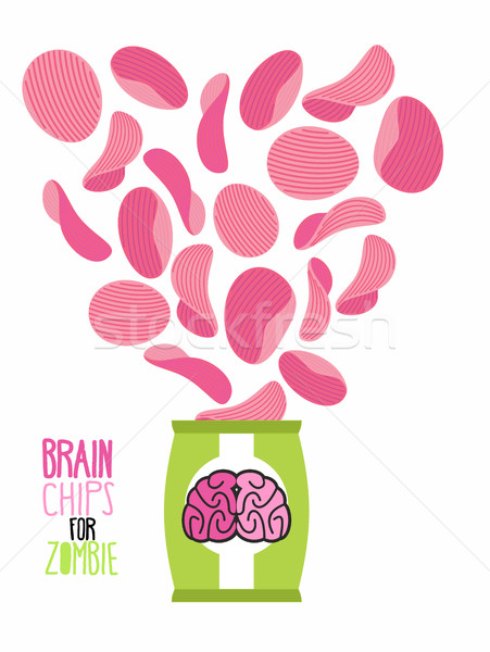 Potato chips taste  brain. Special zombies chips. Packaging, bag Stock photo © popaukropa