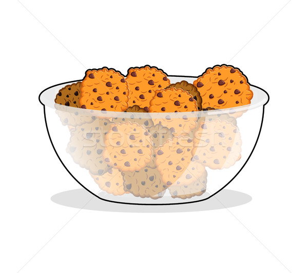 Cookies in bowl. biscuit in deep transparent plate. Oatmeal cook Stock photo © popaukropa