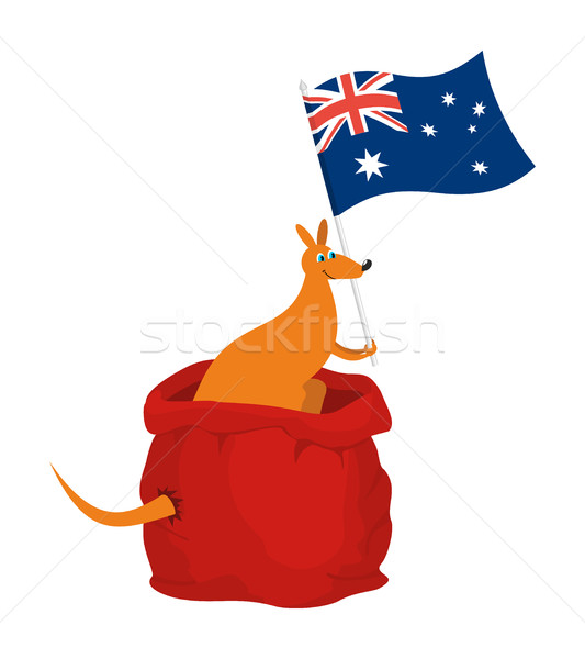 Santa bag and kangaroo with Australia flag. Australian animal. N Stock photo © popaukropa