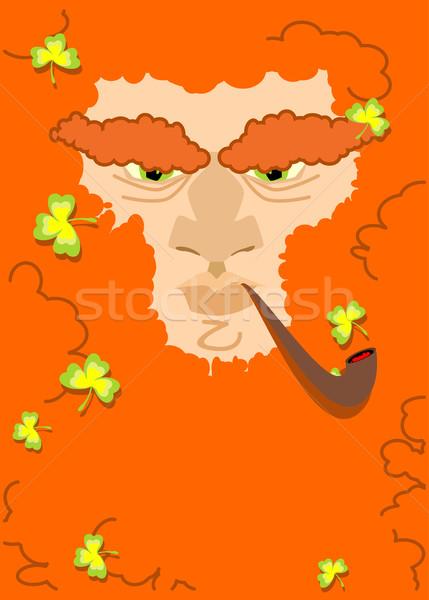 Kırmızı sakal Aziz Patrick Günü karakter İrlandalı Stok fotoğraf © popaukropa