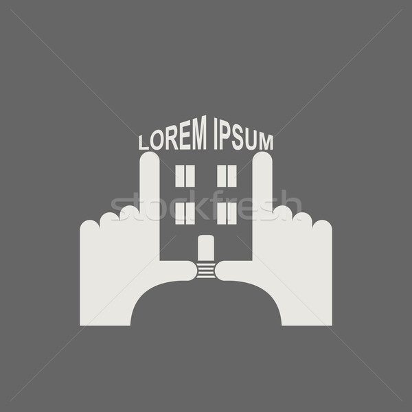 House in hands. Logo and icon for  property. Template business s Stock photo © popaukropa