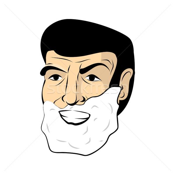 Man shaving foam. Mens head. Shaving beard and mustache Stock photo © popaukropa