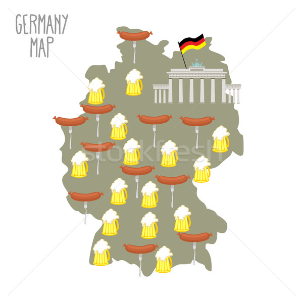 Map of Germany. Beer and sausages. Attraction Berlin Brandenburg Stock photo © popaukropa