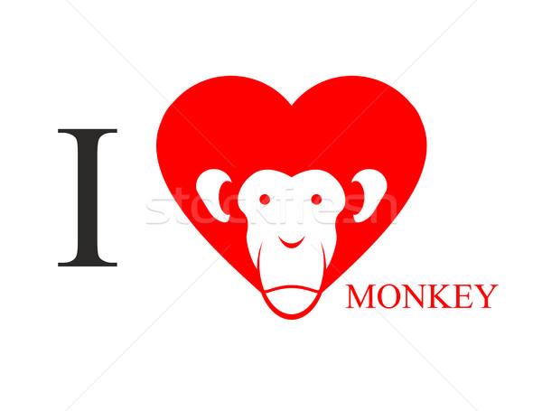 I love monkey. Heart symbol in form of head monkey. Chinese new  Stock photo © popaukropa