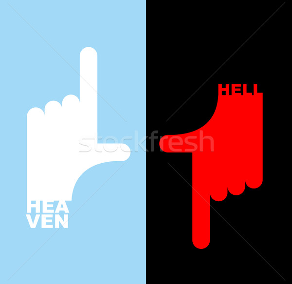 Hell and heavene. Direction signs.  Gesture hands up finger, thu Stock photo © popaukropa