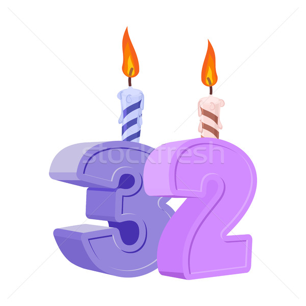 Stock photo: 32 years birthday. Number with festive candle for holiday cake.
