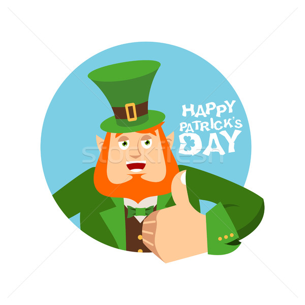 Happy St.Patrick 's Day. Leprechaun winks. Dwarf with red beard  Stock photo © popaukropa