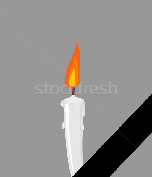 Mourning frame Black ribbon. Candles and tape Stock photo © popaukropa