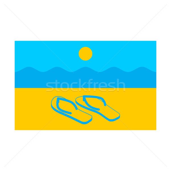 Estate bandiera simbolo solare spiaggia pantofole Foto d'archivio © popaukropa