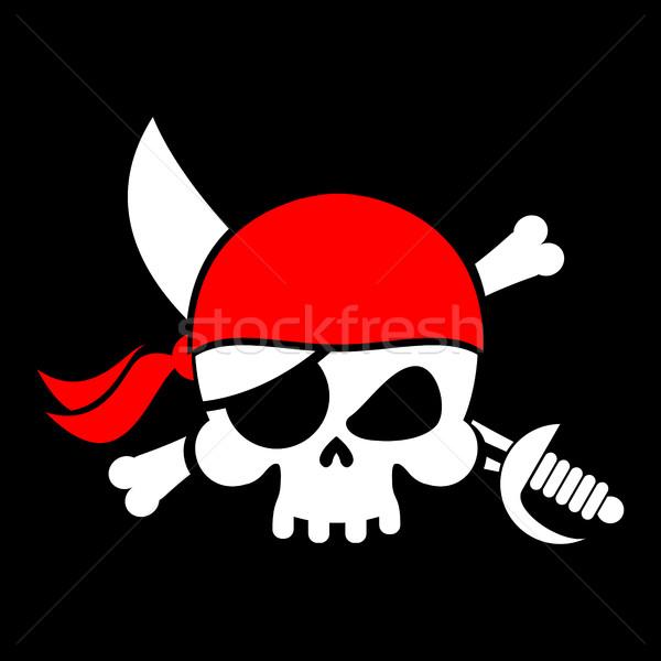 Pirate flag skull. Black Banner filibuster. Head skeleton pirate Stock photo © popaukropa