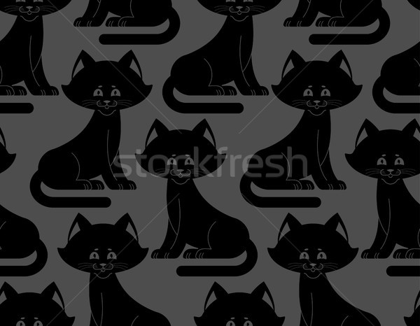 Black Cat seamless pattern. pet ornament. Animal Texture for chi Stock photo © popaukropa