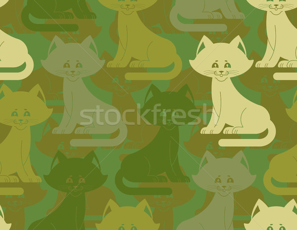 Military texture cat. Army kitten seamless texture. Soldiers pet Stock photo © popaukropa