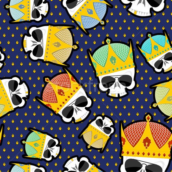 Skull Crown Seamless pattern  Vector background for Kings of str