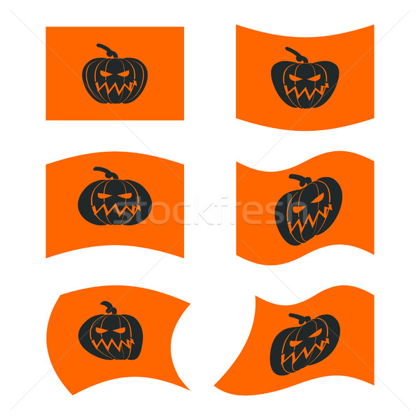 Flag Halloween. Sign set for terrible holiday. Traditional festi Stock photo © popaukropa