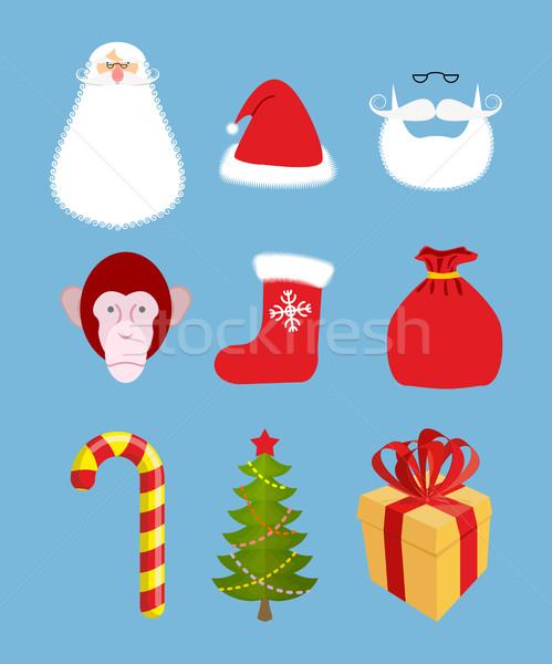 Christmas icons set. Characters: Christmas and new year gift. Sa Stock photo © popaukropa
