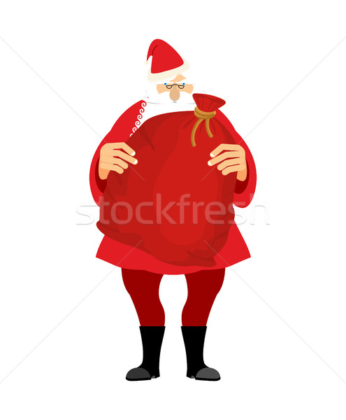 Santa and bag with gifts isolated. Big red sack. Gifts for Chris Stock photo © popaukropa