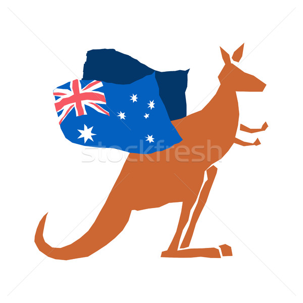 Australia Day emblem holiday. Kangaroos and Australian flag. Log Stock photo © popaukropa
