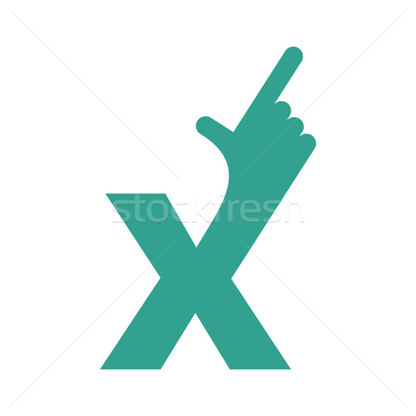 X letter hand isolated. Forefinger lettering on white bacgkround Stock photo © popaukropa